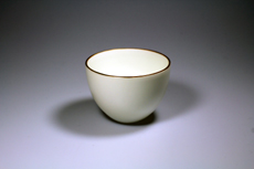 Product image for:Cup Wu Guang You Porzellan matt weiss mit braunem Rand