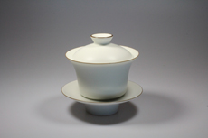 Product image for:Gaiwan Wu Guang You Porzellan matt weiss mit braunem Rand